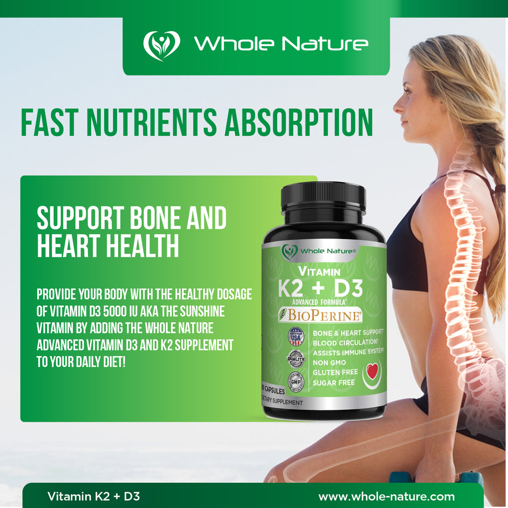 Whole Nature K2 (MK7)+D3 Plus Calcium - Whole Nature Vitamins & Supplements