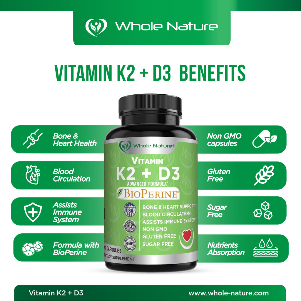 K2 D3 Vitamin Supplement With BioPerine - Vegan Calcium Supplements With Vitamins K And D - Advanced D3K2 Vit 5000 IU Formula - 60 Vegan D3 Plus K2 Complex Nutritional Capsules For Heart & Bone Health