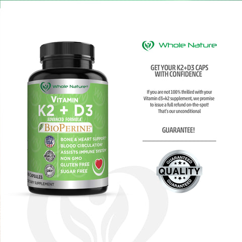Image of K2 D3 Vitamin Supplement With BioPerine - Vegan Calcium Supplements With Vitamins K And D - Advanced D3K2 Vit 5000 IU Formula - 60 Vegan D3 Plus K2 Complex Nutritional Capsules For Heart & Bone Health