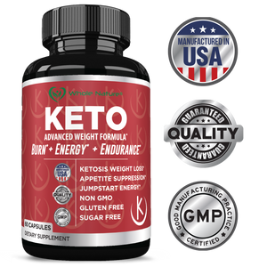 Keto Weight Loss Diet Pills: Rapid Fat Burner, Metabolism and Energy Ketosis Supplement Pill for Men and Women - All Natural Gluten/Sugar Free Supplements with Raspberry Ketones - 60 Veggie Capsules