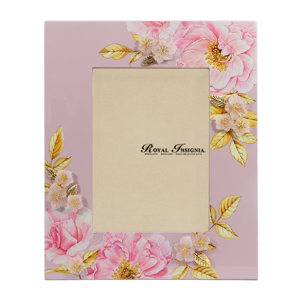 Petit Toile - Briar Lacquer Photo Frame, rose quartz and gold gilded leaves
