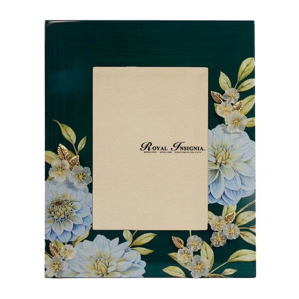 Petit Toile - Dahlia Emerald Green Photo Frame, Frosted Glass Flowers with Gold Gilded Leaves.