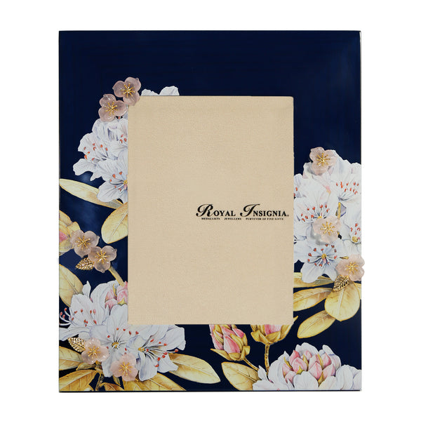Petit Toile - Erica Royal Blue Photo Frame, Rhododendrons in Blush Pink, Rose Quartz with Gold Gilded Leaves.