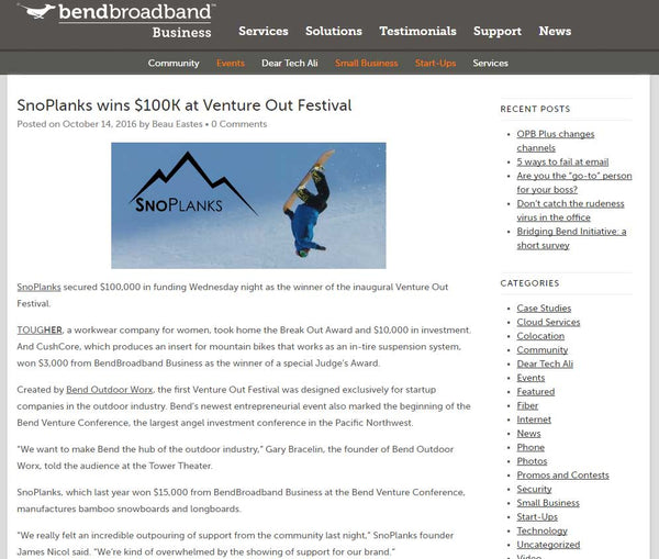 Bend Broadband Blog Article. SnoPlanks Venture Out Conference.