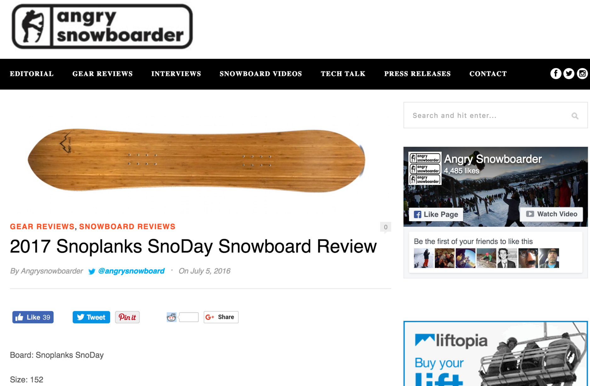 Angry Snowboard reviews SnoPlanks SnoDay Snowboard