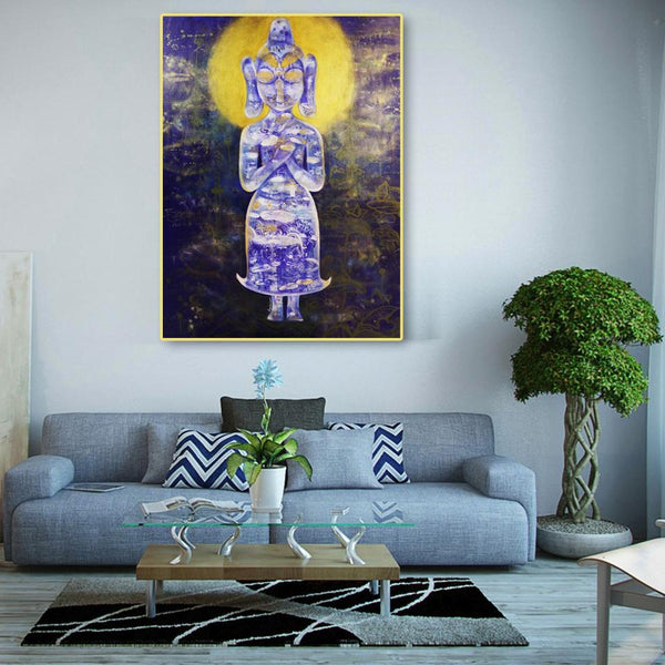 Contemplating Buddha, Original Painting by Amalakaa