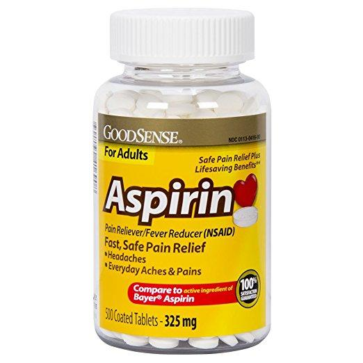 GoodSense Coated Aspirin Pain Reliever Tablets (500 count)