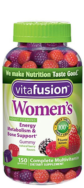 Vitafusion Women's Gummy Vitamins, Natural Berry Flavors, 150 Count (Pack of 2)