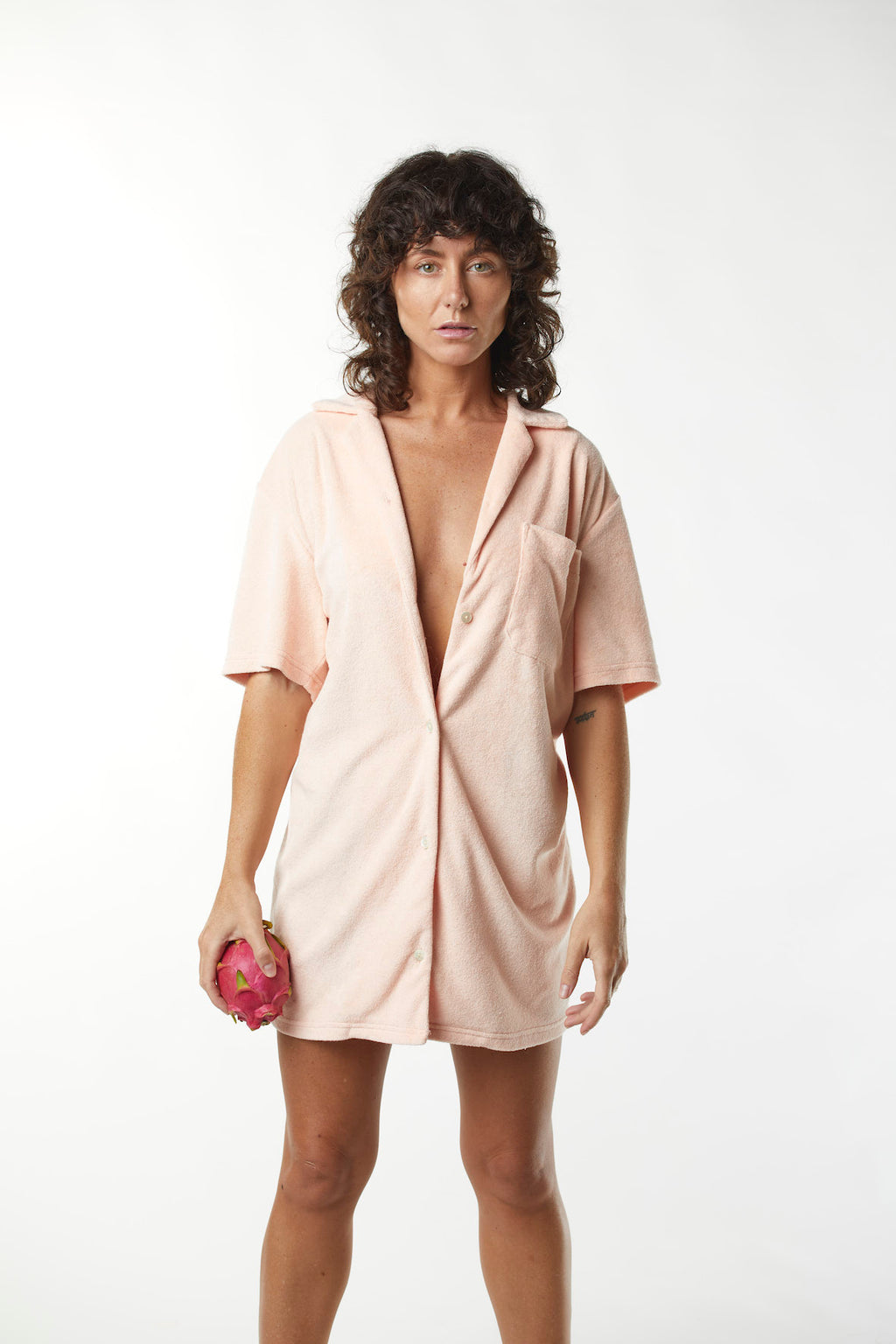 Terry Shirt Dress - Apricot