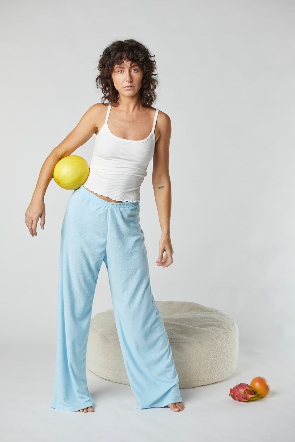 Terry Relaxed Pant- Baby Blue