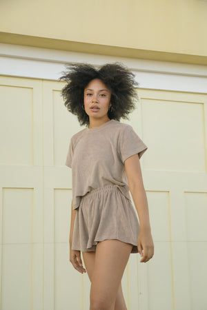 The Relaxed Short - Mocha, White, Lemon Yellow + Charcoal