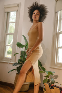 Midi Slit Dress Tan