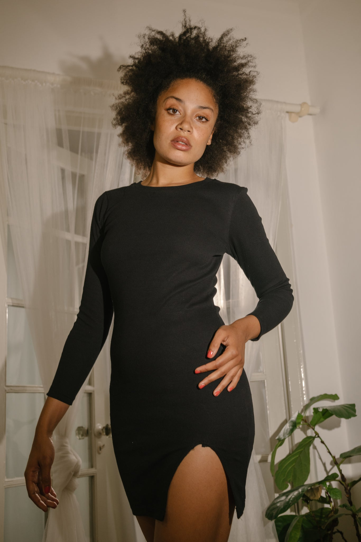 Long Sleeve Slit Dress Black