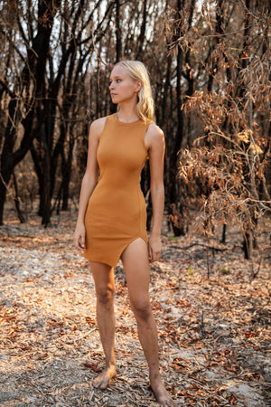 Lisa Slit Dress Amber