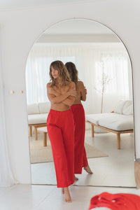 Red Linen Pant