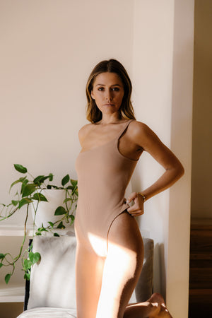 The 02 One Shoulder Bodysuit - Skin.