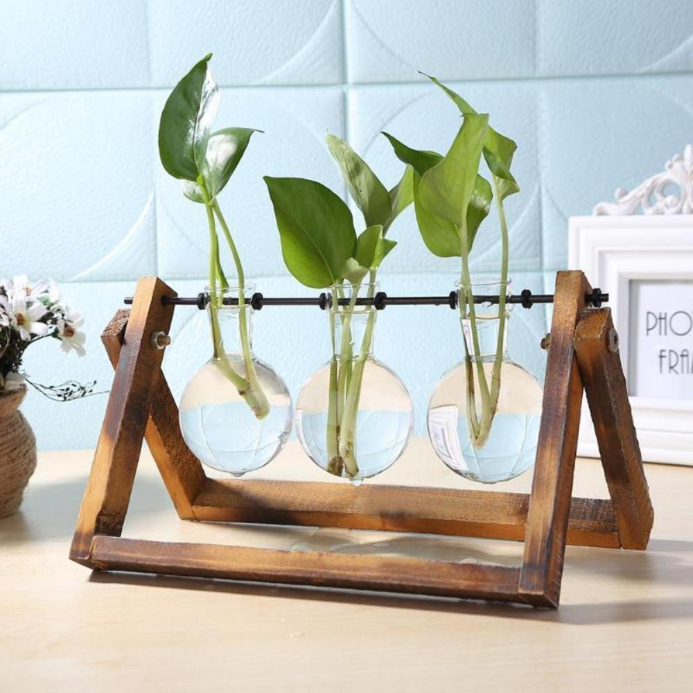 Glass Planter Bulb Vases With Wood