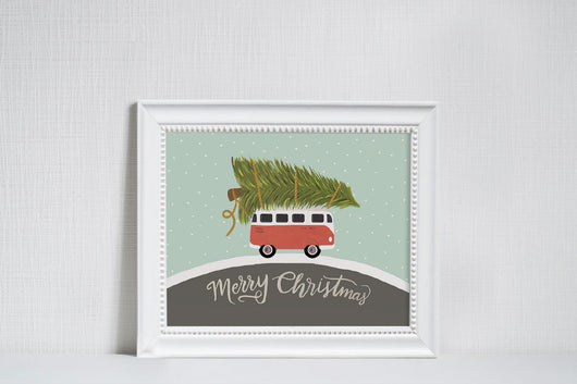 Christmas Car - Christmas Art Print