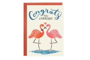 Lovebird Flamingos - Wedding + Engagement Card