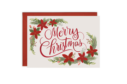Merry Christmas Floral - Christmas Card