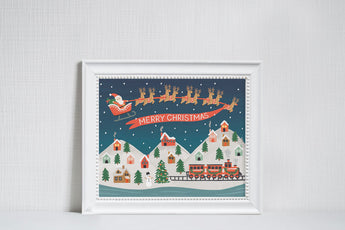 Santa's Village - Christmas Art Print