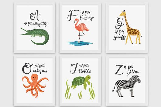 Animal Alphabet - Art Prints (8x10)