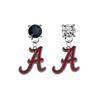 Alabama Crimson Tide BLACK & CLEAR Swarovski Crystal Stud Rhinestone Earrings