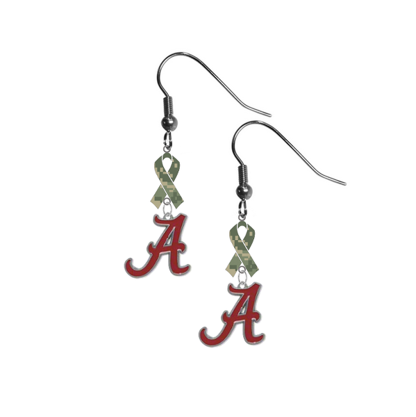 Alabama Crimson Tide Salute to Service Camouflage Camo Ribbon Dangle Earrings