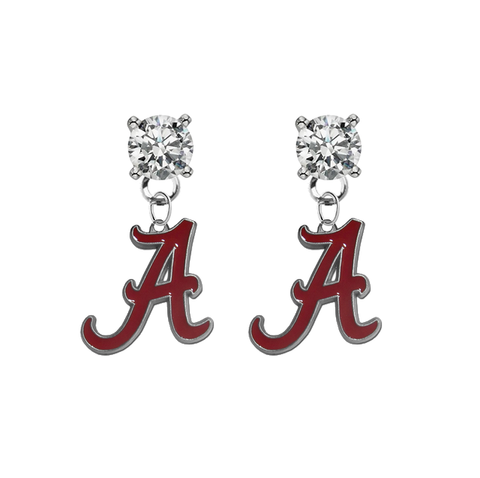 Alabama Crimson Tide CLEAR Swarovski Crystal Stud Rhinestone Earrings
