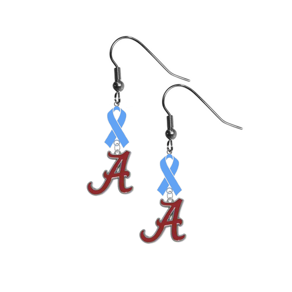 Alabama Crimson Tide Prostate Cancer Awareness Light Blue Ribbon Dangle Earrings