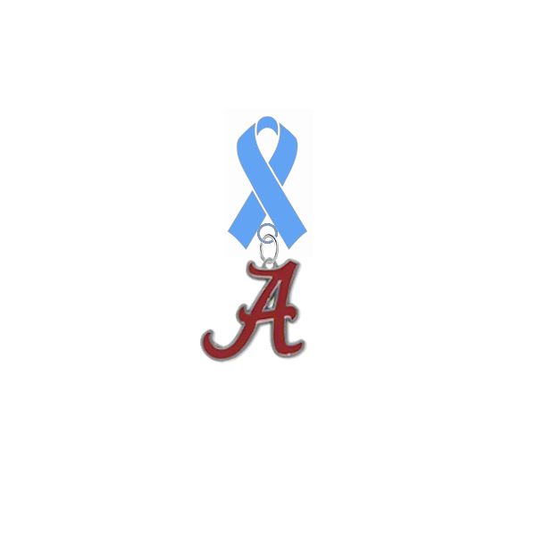 Alabama Crimson Tide Prostate Cancer Awareness / Fathers Day Light Blue Ribbon Lapel Pin