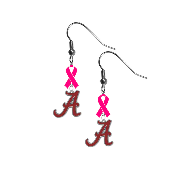 Alabama Crimson Tide Breast Cancer Awareness Hot Pink Ribbon Dangle Earrings