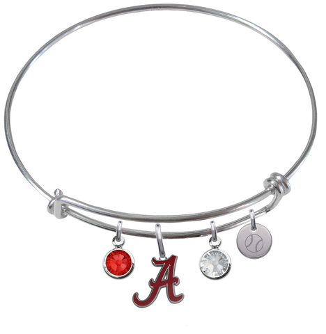 Alabama Crimson Tide Baseball Expandable Wire Bangle Charm Bracelet