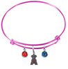 Anaheim Angels Pink MLB Expandable Wire Bangle Charm Bracelet