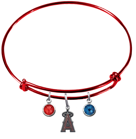 Anaheim Angels Red MLB Expandable Wire Bangle Charm Bracelet