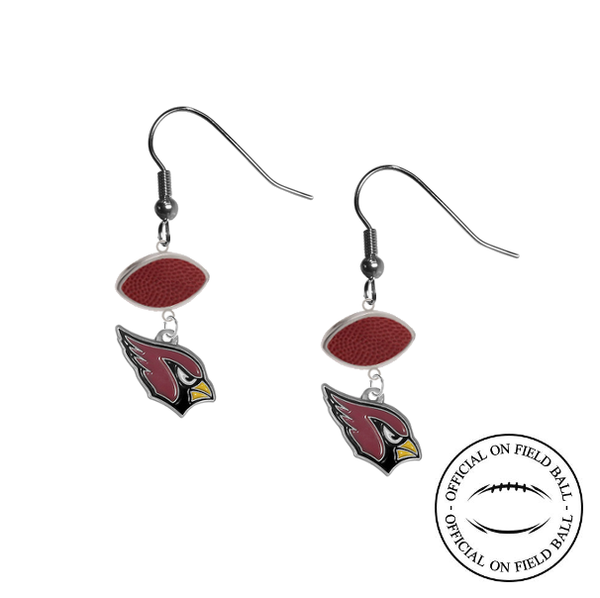Arizona Cardinals NFL Authentic Official On Field Leather Football Dangle Earrings