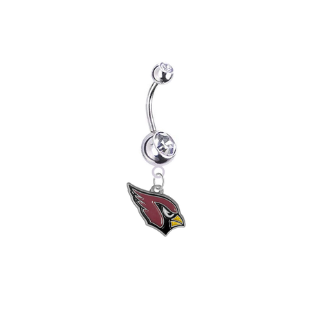 Arizona Cardinals Silver Clear Swarovski Belly Button Navel Ring - Customize Gem Colors