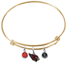 Arizona Cardinals Gold Wire Charm Bangle Bracelet