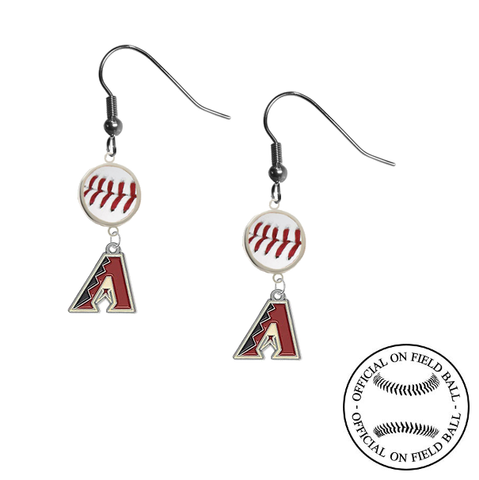 Arizona Diamondbacks MLB Authentic Rawlings On Field Leather Baseball Dangle Earrings