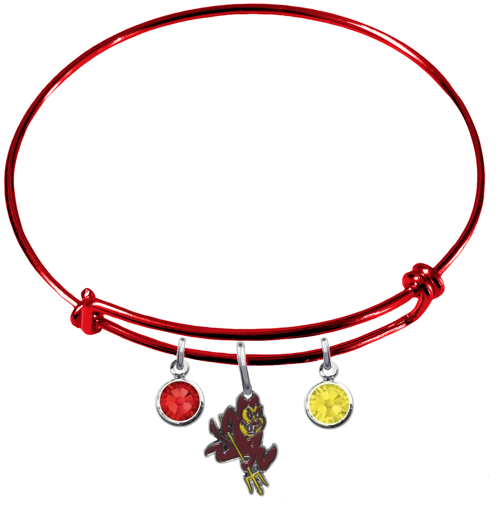 Arizona State Sun Devils Red NCAA Expandable Wire Bangle Charm Bracelet