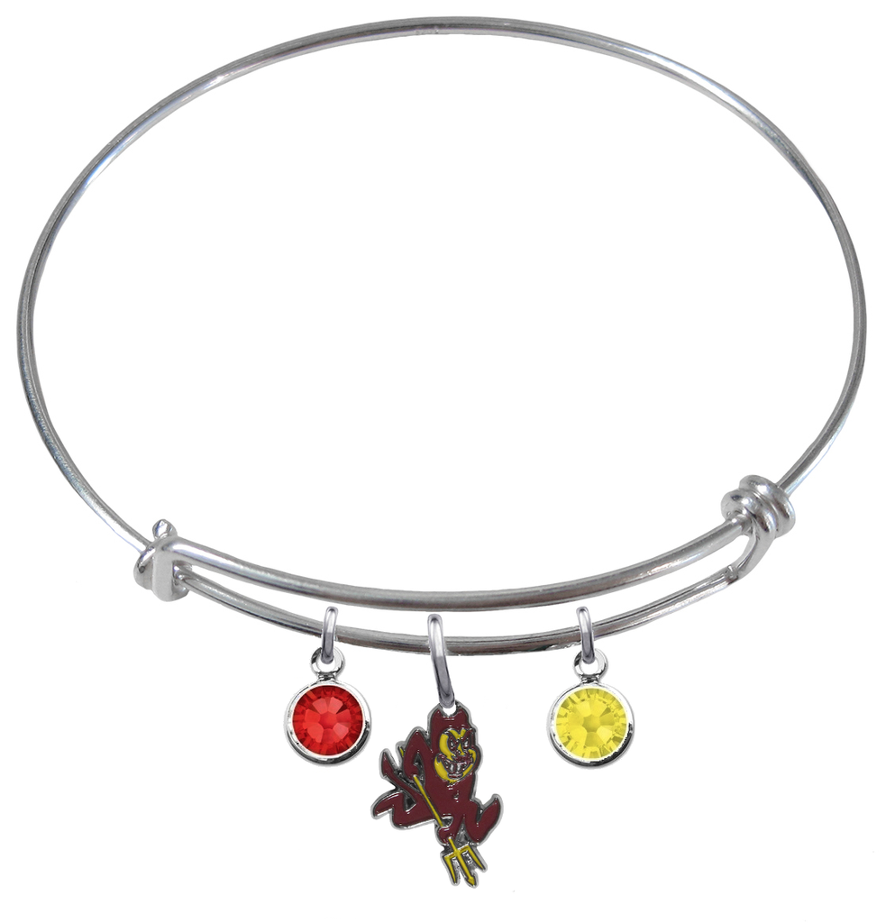 Arizona State Sun Devils NCAA Expandable Wire Bangle Charm Bracelet - SportsJewelryProShop