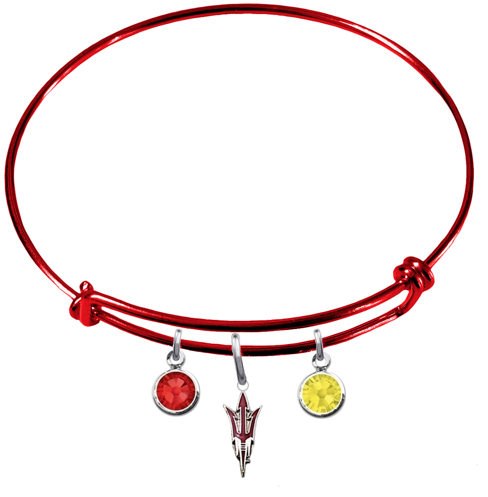 Arizona State Sun Devils Style 2 Red NFL Expandable Wire Bangle Charm Bracelet