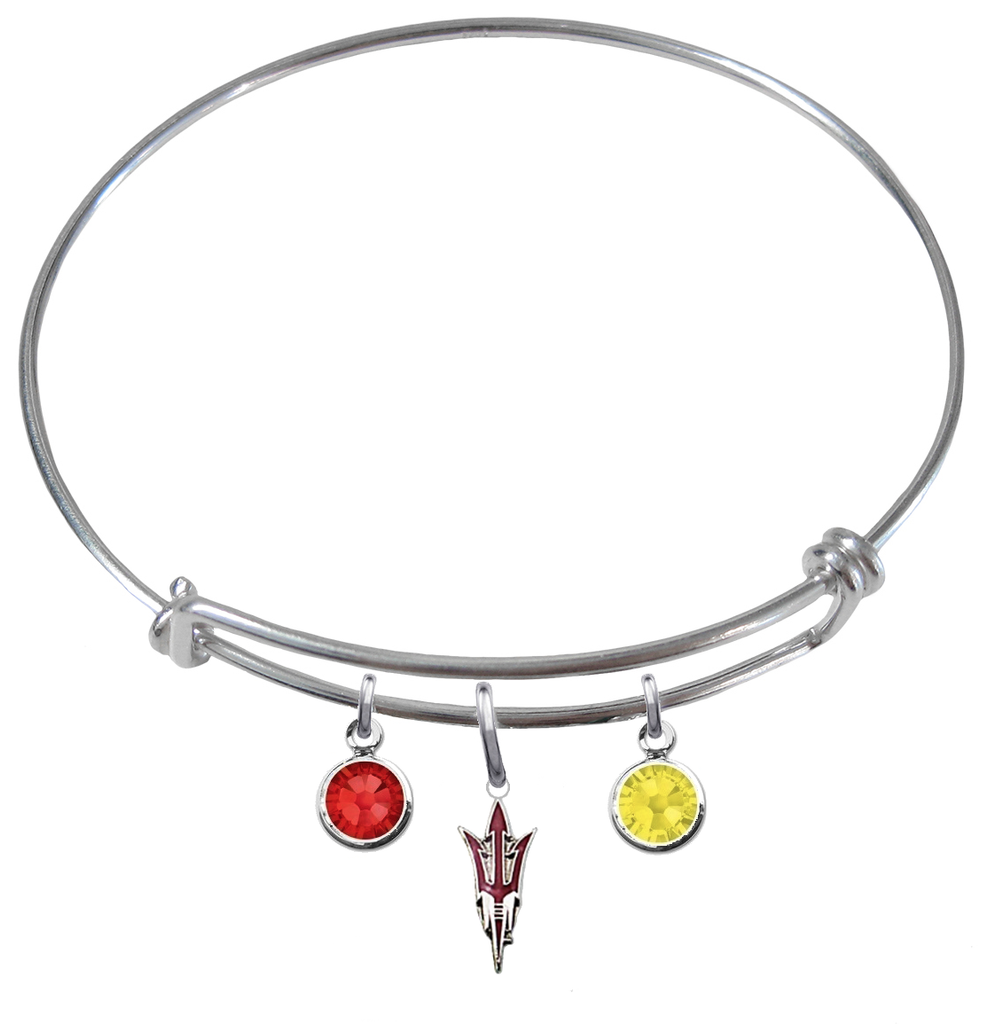 Arizona State Sun Devils Style 2 NCAA Expandable Wire Bangle Charm Bracelet