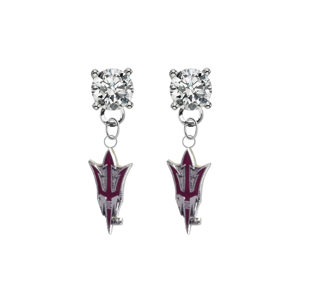 Arizona State Sun Devils 2 CLEAR Swarovski Crystal Stud Rhinestone Earrings