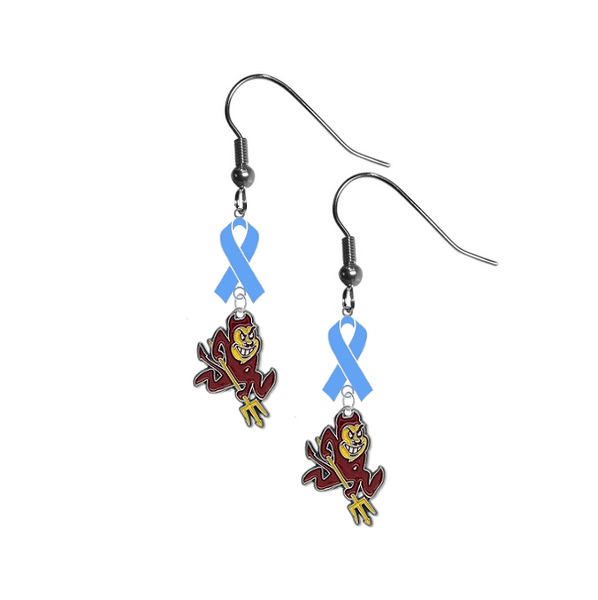 Arizona State Sun Devils Prostate Cancer Awareness Light Blue Ribbon Dangle Earrings