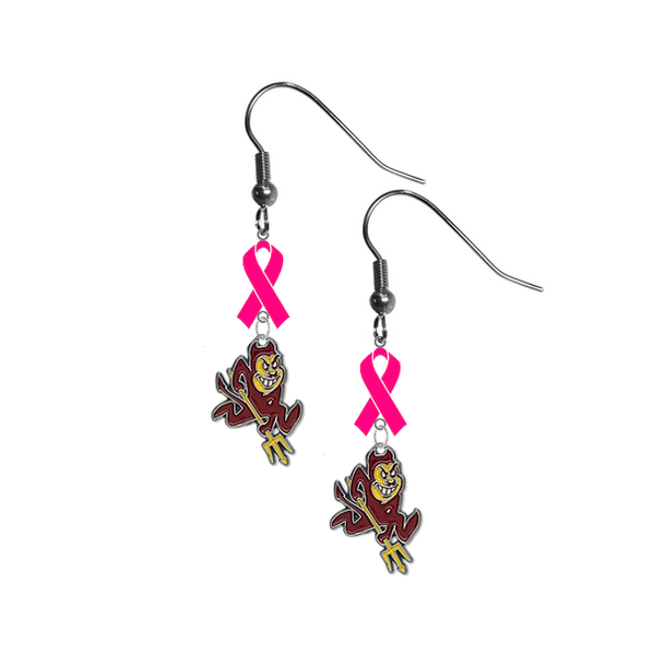 Arizona State Sun Devils Breast Cancer Awareness Hot Pink Ribbon Dangle Earrings