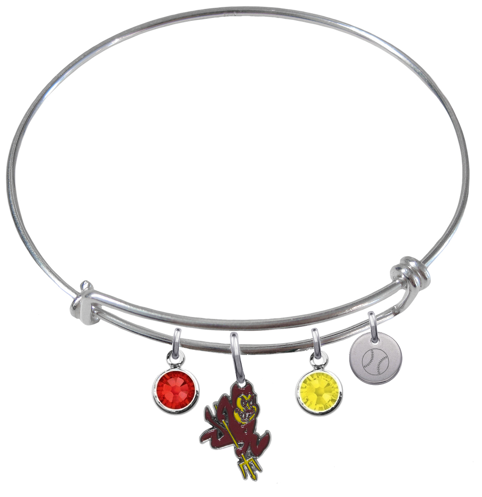 Arizona State Sun Devils Baseball Expandable Wire Bangle Charm Bracelet