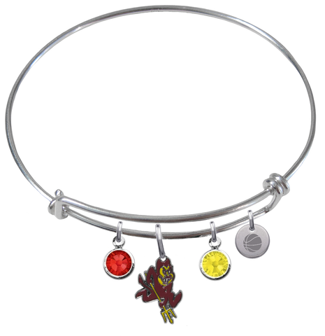 Arizona State Sun Devils Basketball Expandable Wire Bangle Charm Bracelet