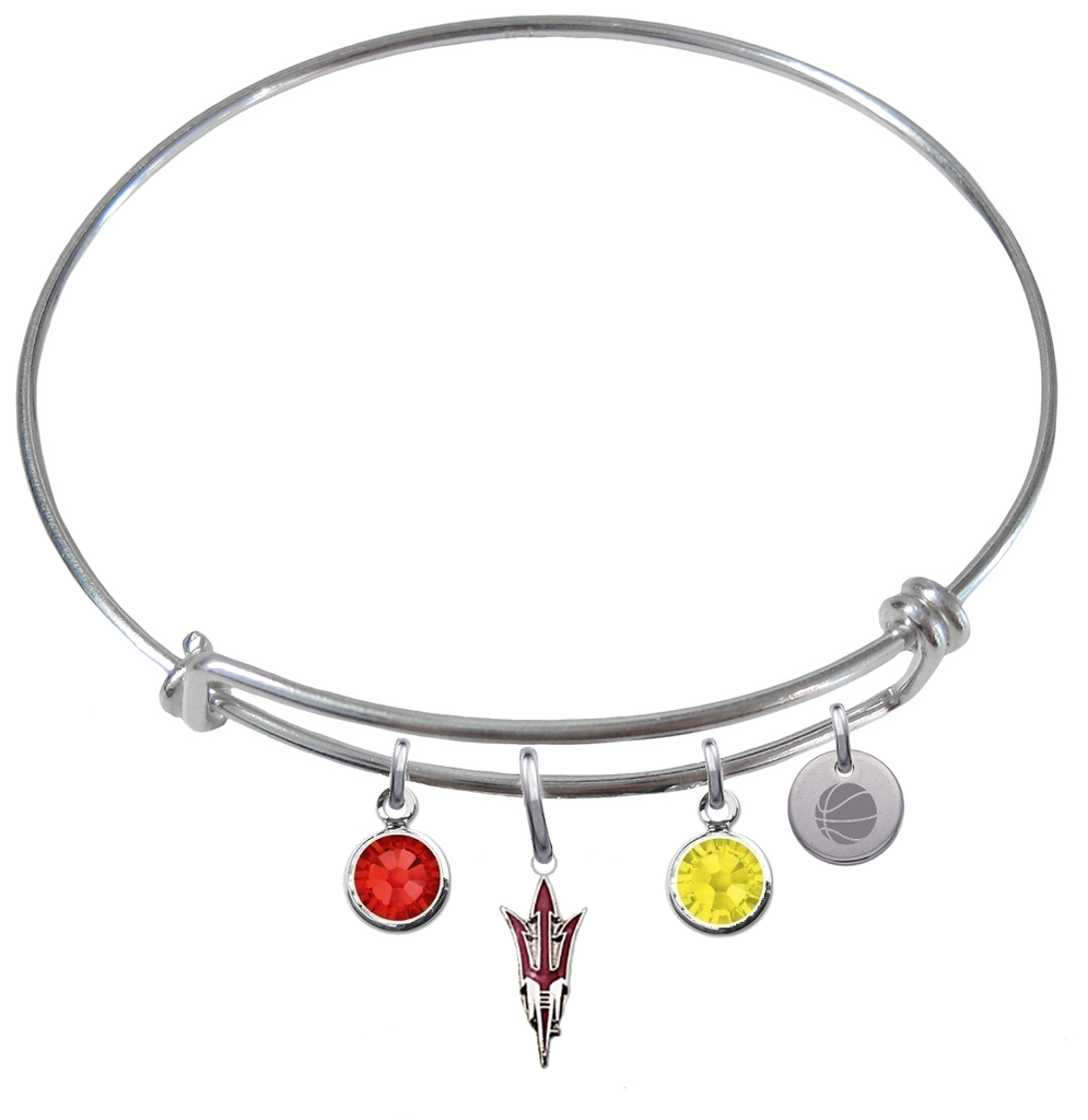 Arizona State Sun Devils Style 2 Basketball Expandable Wire Bangle Charm Bracelet