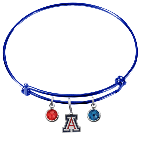 Arizona Wildcats Blue NCAA Expandable Wire Bangle Charm Bracelet